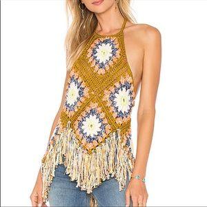 Free People Summer of Love Boho Crochet Halter Top